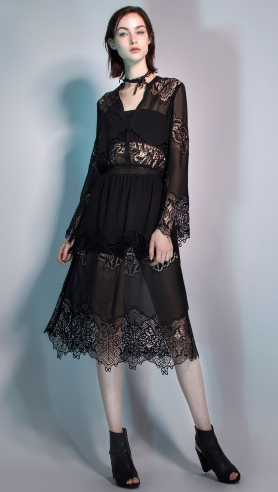 SANCTUARY LACE MIDI DRESS