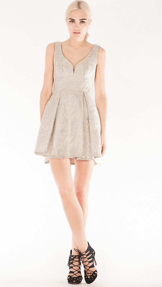 SILVER SCREEN BROCADE DRESS