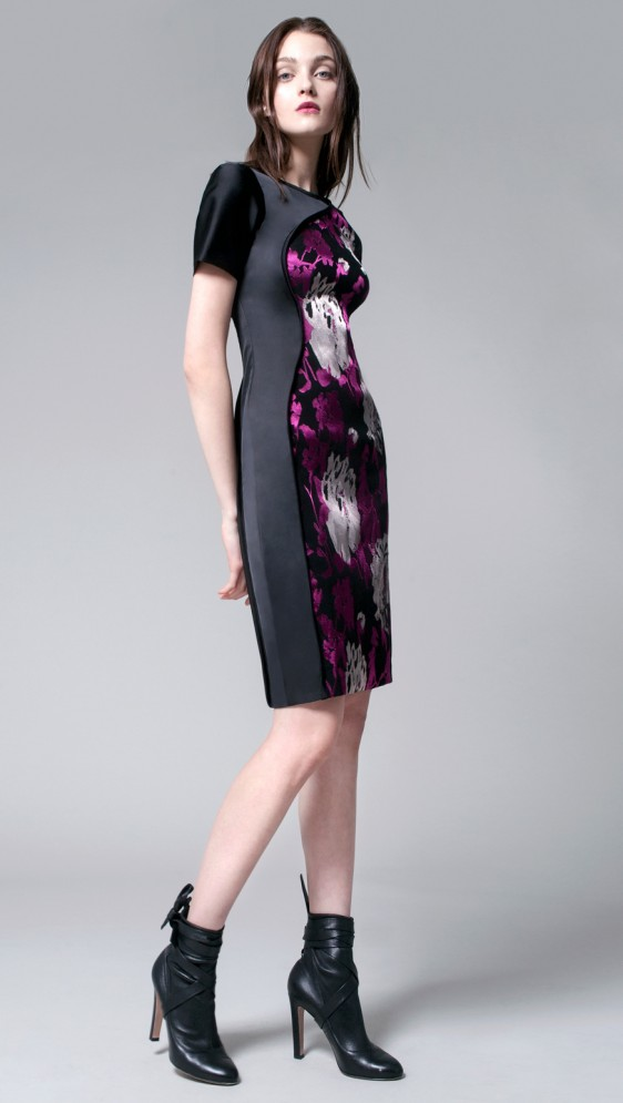 FREYA STRETCH BROCADE BODY DRESS