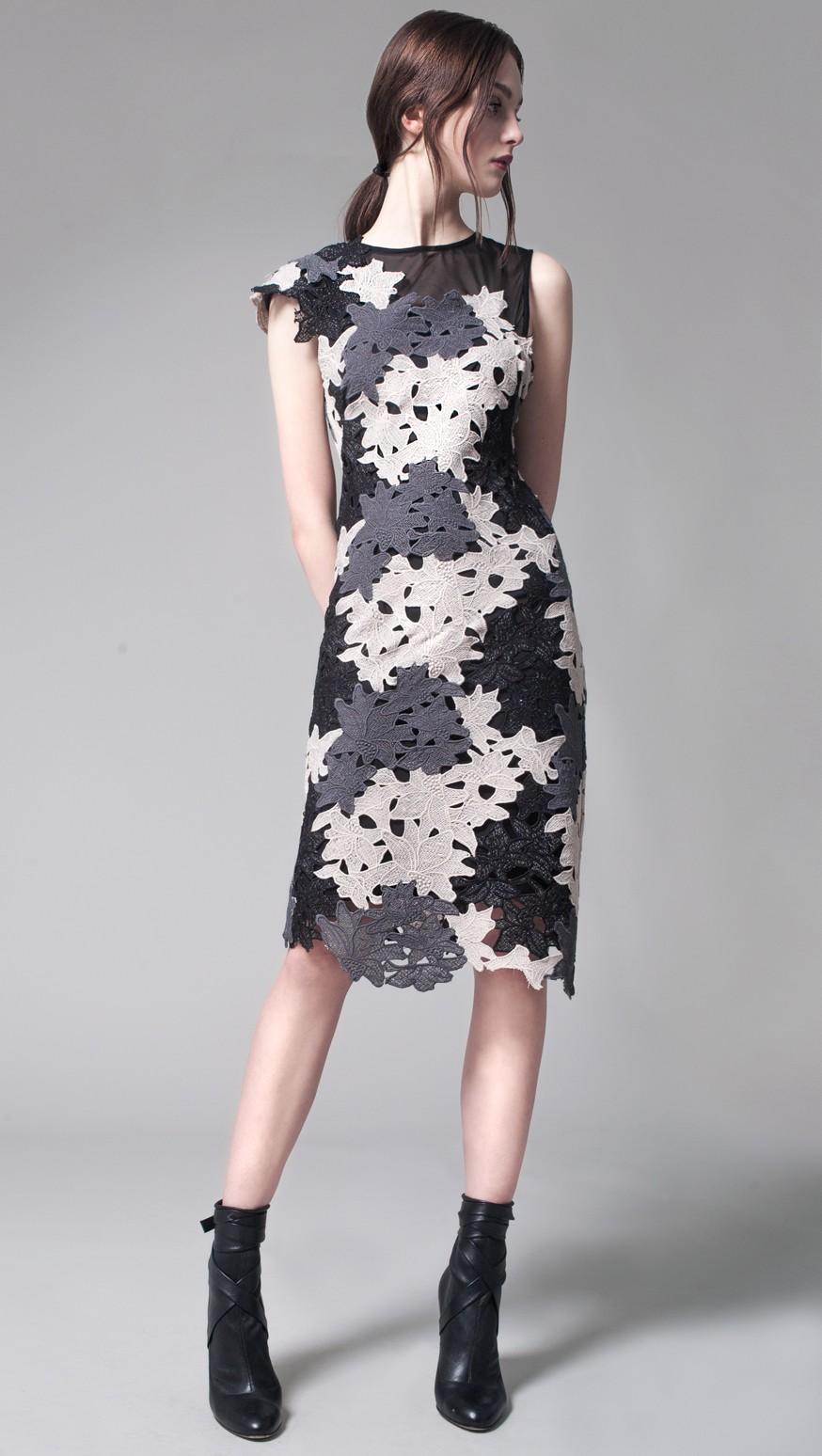 Ceres Lace One Shoulder Dress Black Multi Yoana Baraschi